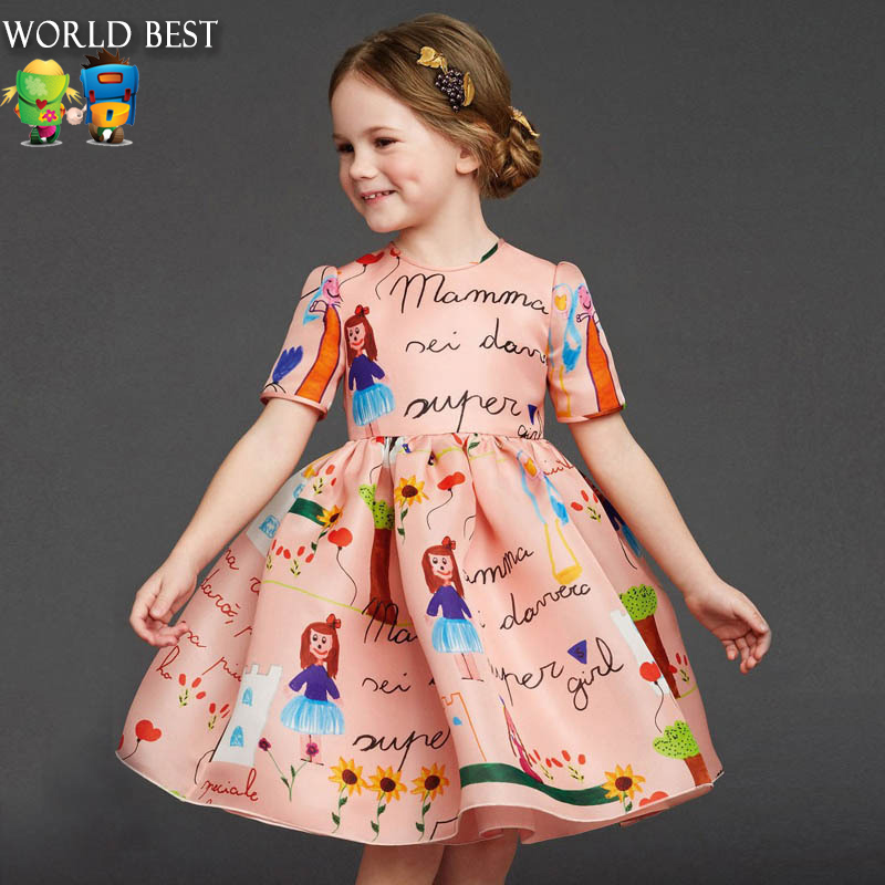 New Spring Kids Dresses For Girls Summer High Quality Girls Clothes Fashion Custom Made Graffiti Dress Girls Party Dresses мужские часы cerruti 1881 crc015a212c
