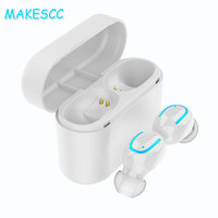 MAKESCC Q32 TWS Mini Sport Wireless Bluetooth 5.0 Earphones Hands Free Earbuds Headset White