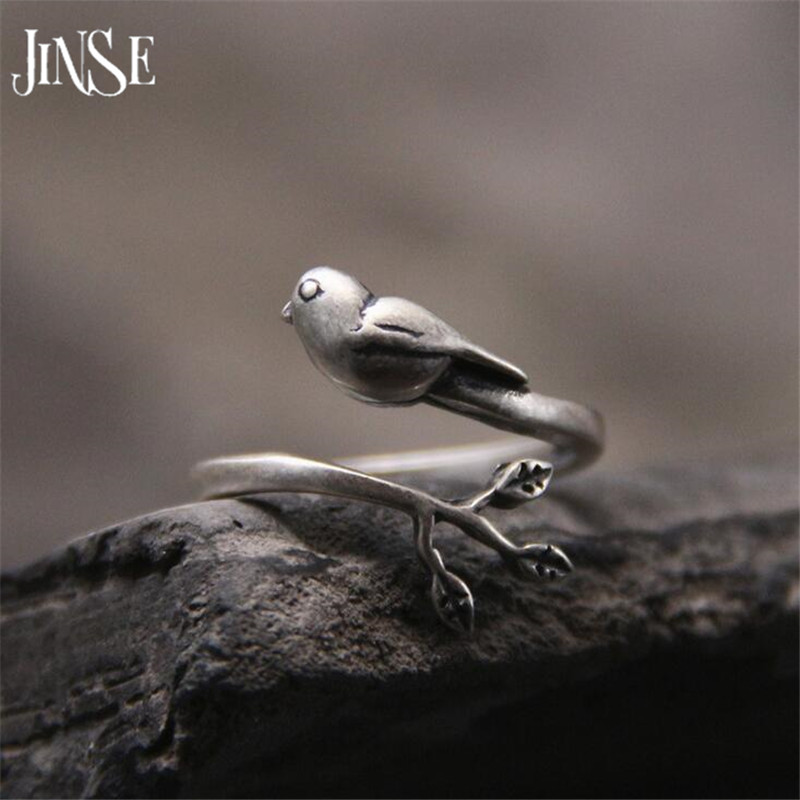 JINSE 100% Real Pure 925 Sterling Silver Jewelry Branch & Cute Bird Opening Rings for Women Girls Party Gifts Lovely Jewelry