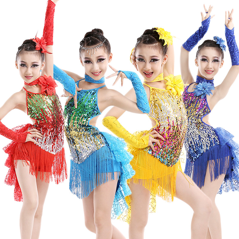 FEECOLOR الفتيات الرقص اللاتينية زي قوس - منتجات جديدة