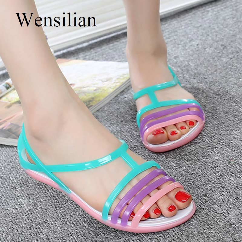 HTB1JvrjasfrK1RkSnb4q6xHRFXap - Women Sandals Flat Casual Jelly Shoes Sandalia Feminina Beach Candy Color Slides Ladies Flip Flops Slippers Sandalias Mujer