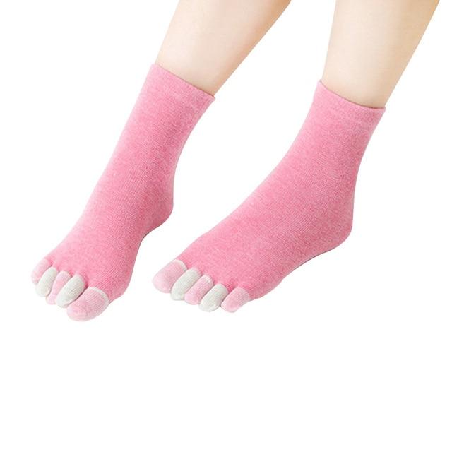 Mujeres coloridas 5 toes calcetín deporte algodón cinco calcetines ...