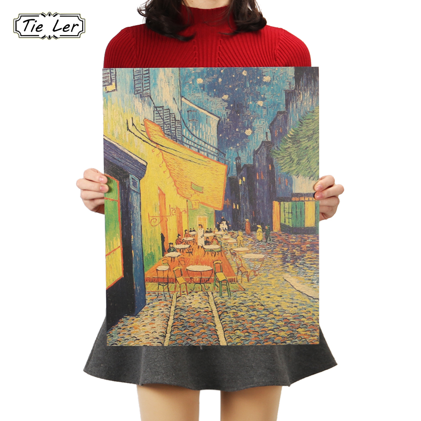 TIE LER Van Gogh Cafe Nostalgic Retro Kraft Paper Poster Painting Decorative Painting Wall Stickers 36 X 47cm