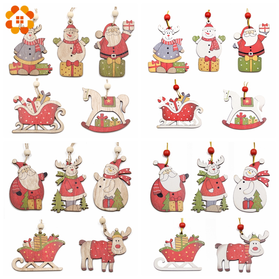 New!5PCS Multi Style Printed Christmas Wooden Pendants ...