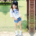 cotton kids girls clothes set 2017 summer girls sets pink white blue letters printed loose t shirts tops jeans shorts sets