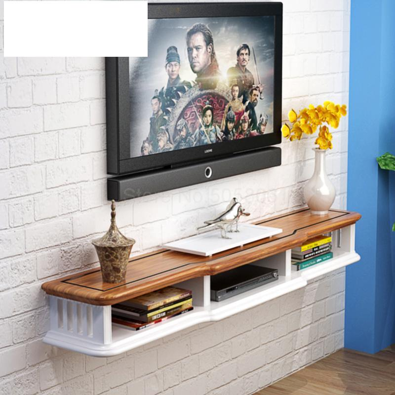Creative decorative wall hanging TV cabinet wall shelf small apartment  living room TV cabinet bedroom set-top box rack