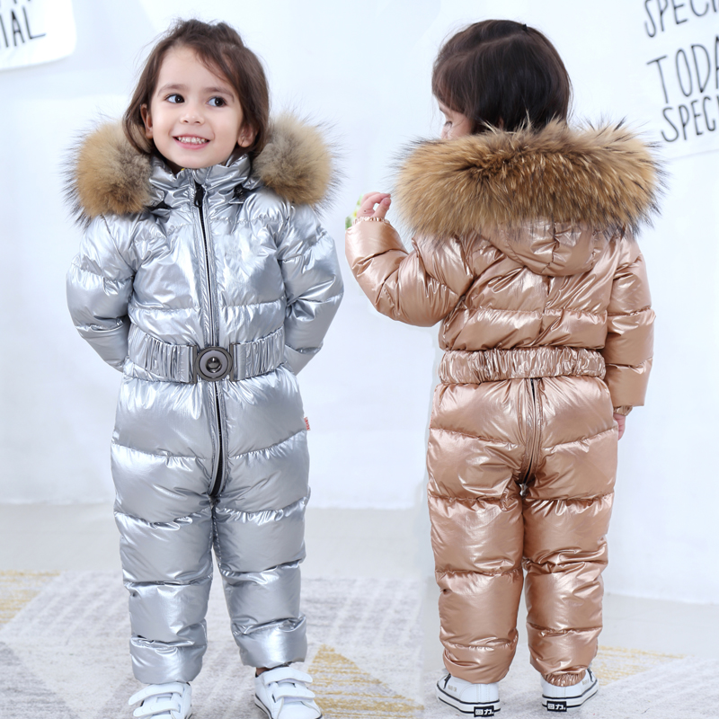 Winter Kids Girls Boys Snowsuit Jumpsuit Baby White Duck Down Jackets Overall Children Real Big Raccoon Fur Hooded Rompers