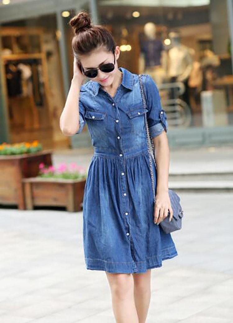 2  spring summer season girls clothes,informal pleated demin gown plus measurement HTB1Jvs0j2ImBKNjSZFlq6A43FXaY