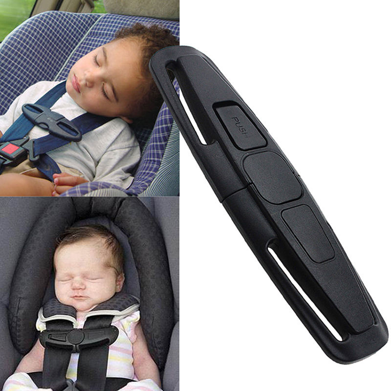 1pc Black Car Baby Safety Seat Clip Fixed Lock Buckle Safe