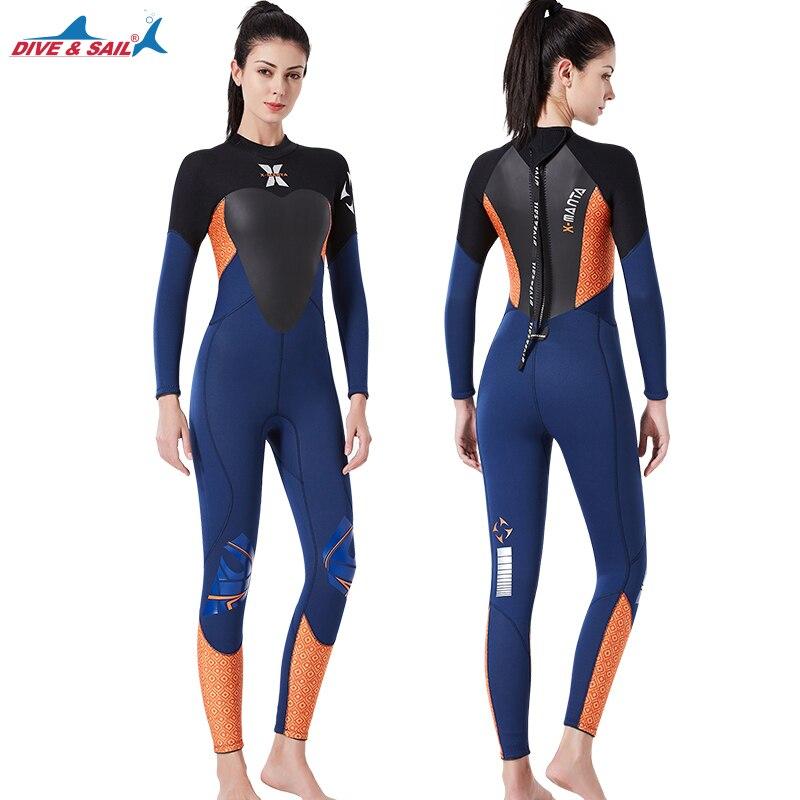 3.5mm Neoprene Wetsuit Women Full Body Scuba Diving Snorkeling Swimming Suit Long Sleeve Swimwear for Beach Water Sports
