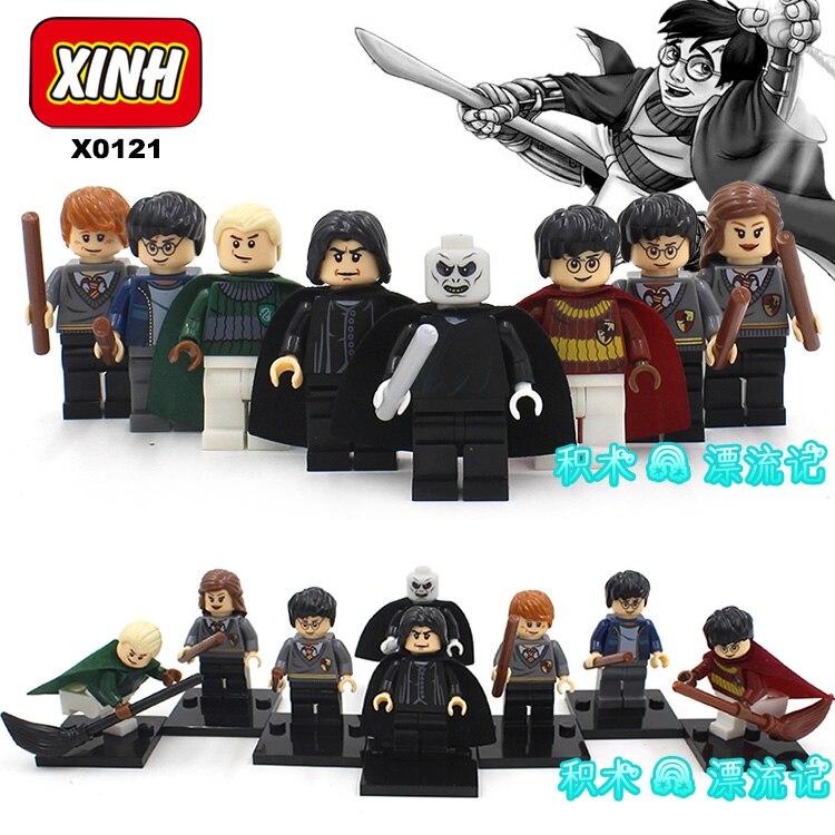 8pcs HARRY POTTER Movie Dumbledore Professor Snape Ron Weasley Hogwarts Express Hermione Building minifig font b