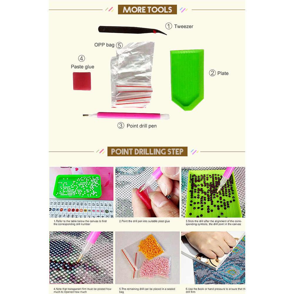 Persegi Bor 5D DIY Diamond Lukisan Cross Stitch Air Tiger 3D Diamond Bordir Hewan Mosaik Berlian Imitasi Gambar M955