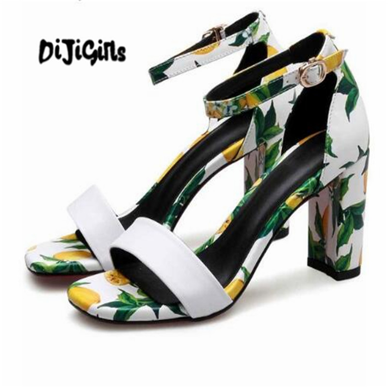 DIJIGIRLS raffiti cow leather ankle buckle strap pumps square toe high heels women sandals office lady summer cool shoes fashion design women full grain leather pumps summer ankle wrap cool high heels shoes for women closed toe women sandals