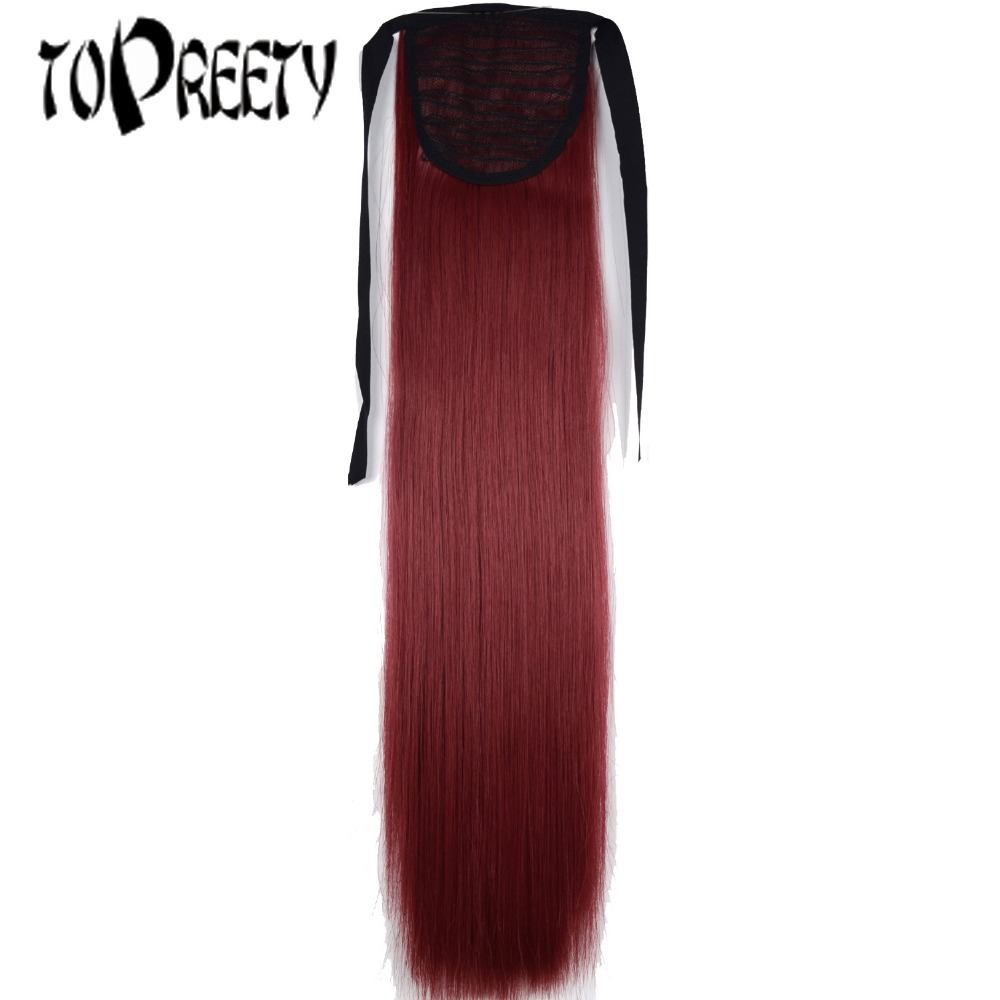 TOPREETY Heat Resistant B5 Synthetic 22 55cm 90gr Straight Ribbon Ponytail Extensions 60 Colors Available ...