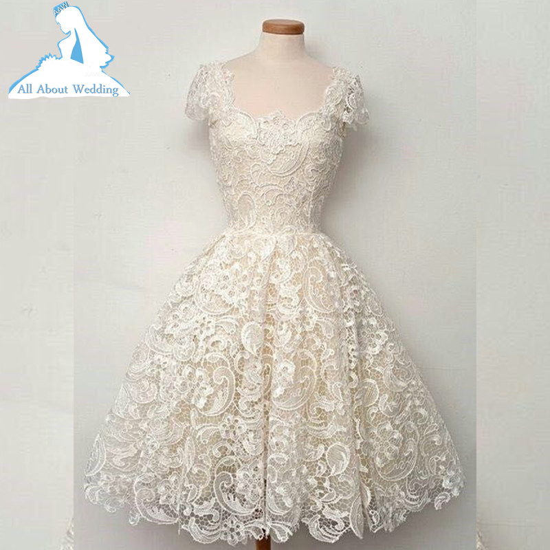 Compare prices on champagne bridal gown online shopping for Champagne lace short wedding dress