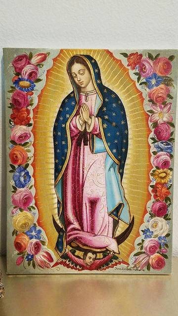 Hot Sell Figure Painting Hand Painted Virgen De Guadalupe Oil