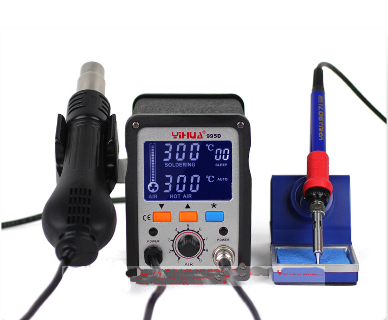 YIHUA 995D+ LCD bga Rework Station Hot Air Gun soldering station, free tax to Russia ship to russia no tax jovy re8500 bga rework station re 8500 upgraded from re7500 soldering machine high quality
