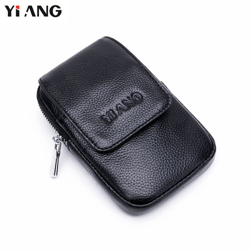 YIANG Genuine Leather Soft Waist Packs Fanny Pack Belt Bag Phone Pouch Bags Fashion Male Small Waist Bag Leather Pouch Mini Case цена