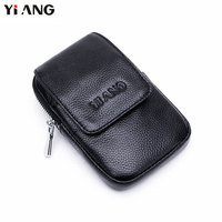 YIANG Genuine Leather Soft Waist Packs Fanny Pack Belt Bag Phone Pouch Bags Fashion Male Small Waist Bag Leather Pouch Mini Case