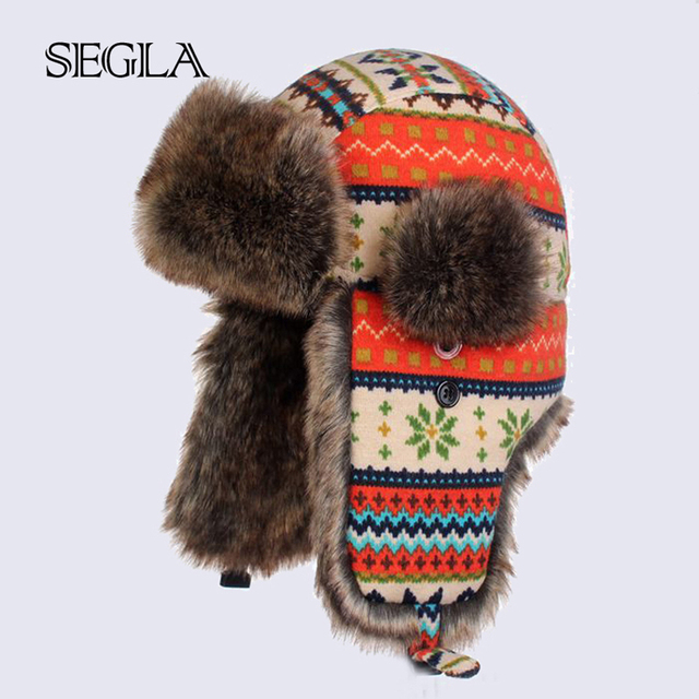 SEGLA Earflap Bomber Hats Men's and Women's Snowflakes Woolen Faux Rabbit Fur Russian Trapper Hats Outdoor Snow Skiing Caps