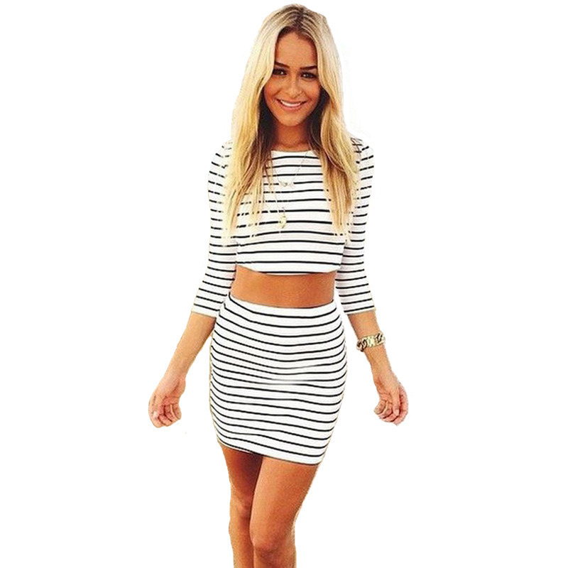 Sexy Striped Crop Top Plaid Bodycon Short Summer Female Clothing Tracksuit Two Piece Outfit For Women Suit Set in Dresses from Women 39 s Clothing