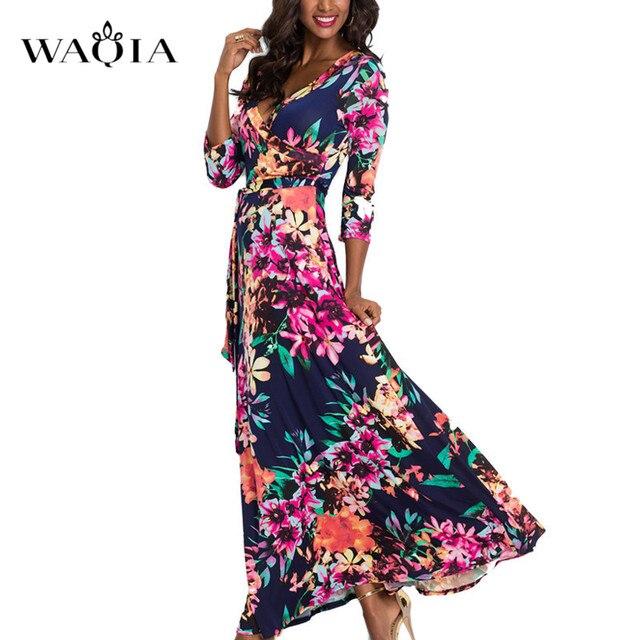 8488b0dcc6a WAQIA 2018 Summer Long Dress Floral Print Boho Beach Dress Tunic Maxi Dress  Women Evening Party Dress Sundress Vestidos de festa