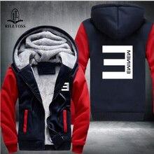 2017 New Winter Warm Cotton Fleece Eminem Hoodie Fashion Thick Zipper Men's cardigan Jackets and Coats