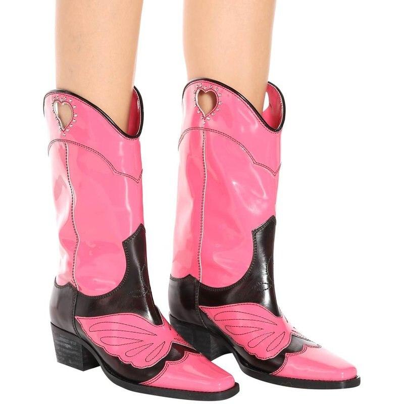 black Bottes mollet En Femmes Coeur Chevalier Mesdames Ouest Détouré Pink Verni brown Style Carré Cuir Mi Bout Super Rose Chaude Mode Cowboy 8qw0xg