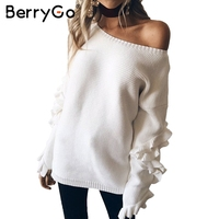 BerryGo Ruffles Flare Sleeve Knitted Pullover Sexy One Shoulder Round Neck Sweater Women Autumn Winter Loose