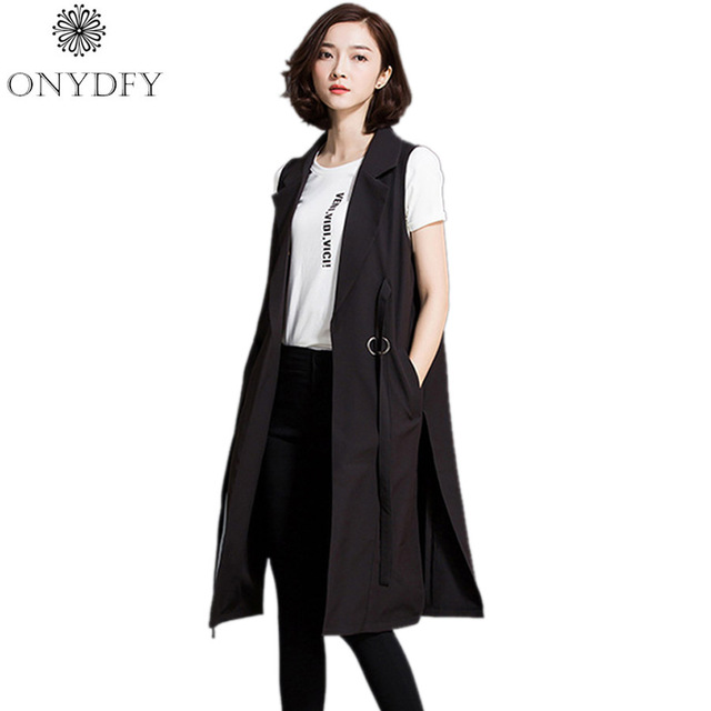 Women Black Long Vest Coat 2017 European Style Double Breasted Waistcoat Sleeveless Jacket Outwear Casual Tops Roupa Female