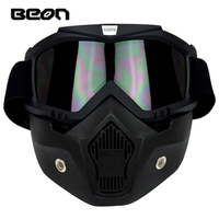 New Beon dust proof Retro motorcycle face mask with detachable Goggles And Mouth Filter for Open Face moto Vintage Helmet Casco