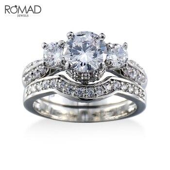 df1ed03dde48 Romad Venta caliente plata de oro blanco de Color boda anillos para las mujeres  joyas cristal anillo de compromiso anillos tamaño 6 -10