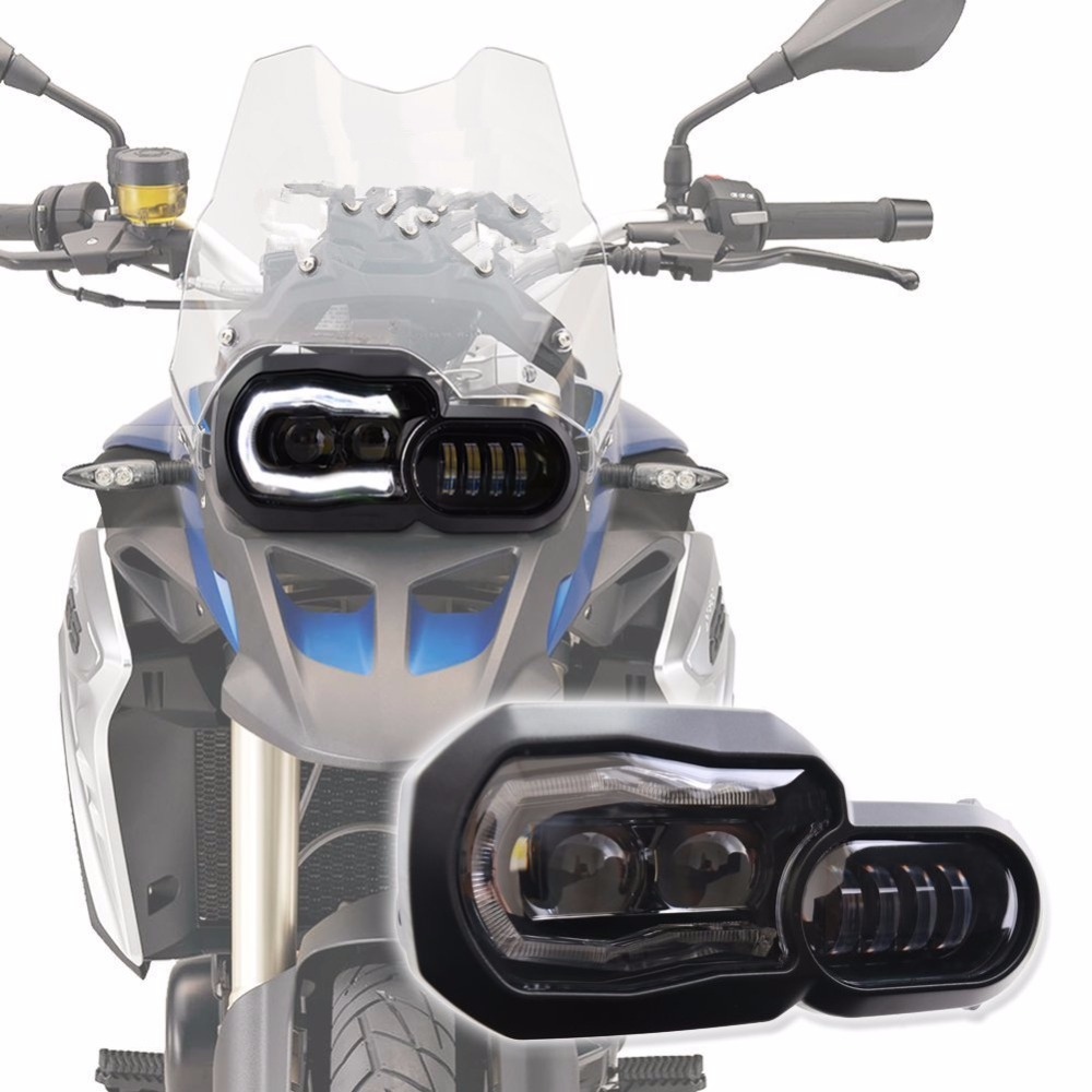 BMW moto LED Headlight High Low Beam with Angel Eyes DRL Assembly Kit and Replacement Headlight For BMW F650GS