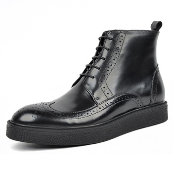 New British Genuine Leather Formal Dress Man Flat Platform Ankle Boots Round Toe Men's Wingtip Brogues Cowboy Riding Shoes AM128