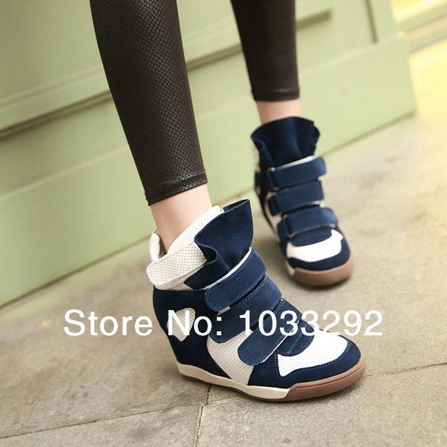 New Women s Cow Leather Vecro Hidden Wedge Sneakers High Top Ankle Boots  Oxfords High Heels Pumps Tennis Shoes 90fe455fafdd