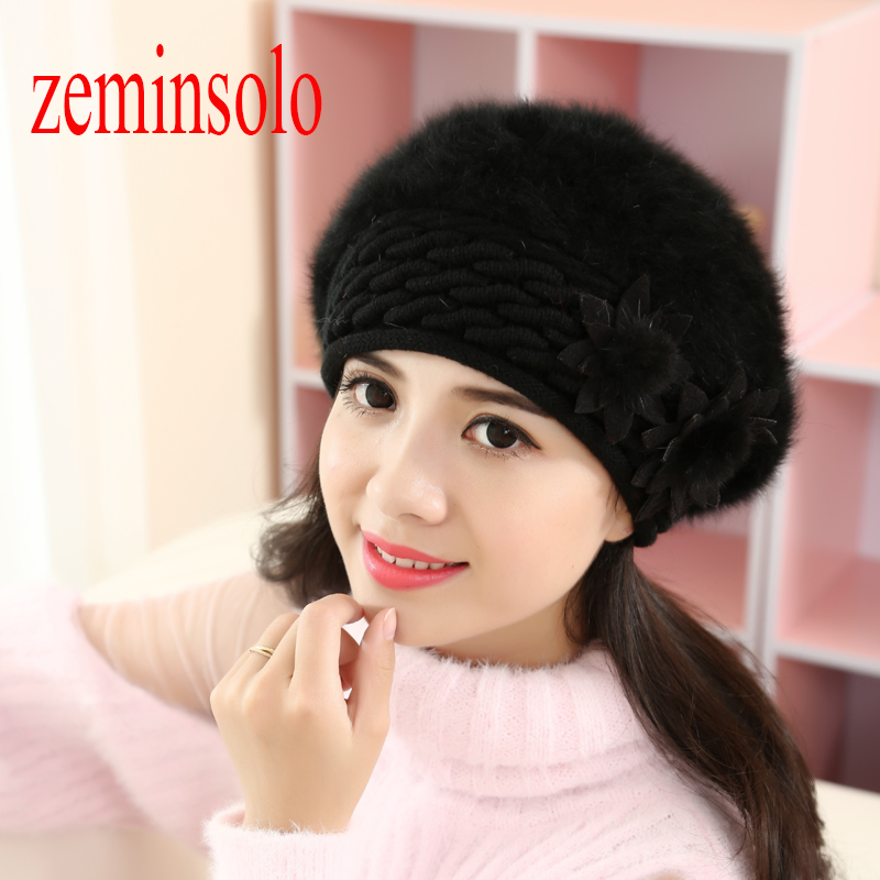 New Women's Real Rabbit Fur Hat Winter Female Fashion Knitted Two Floral Hat Ears Women Hats Girls Caps   Beanies     skullies