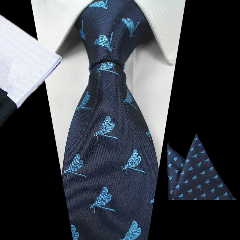 Men Elegant Ties Hanky Sets Sky Blue Dragonfly Insect Pattern Print Slim Neckties for Business Party Square Handkerchief
