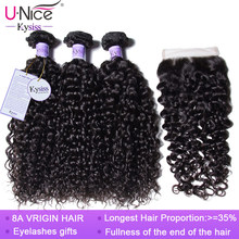 UNice Hair Kysiss Series 8A Brazilian Curly Hair 3/4 Bundles With Closure 100% Human Virgin Hair Bundles With Closure(China)