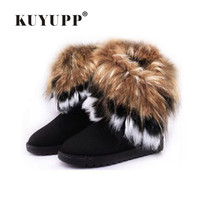 KUYUPP Women Flat Ankle Snow Boots Fur Boots Winter Warm Snow Shoes Round Toe Female Flock