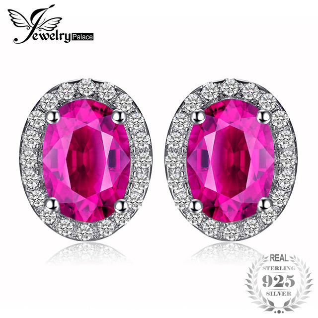 JewelryPalace Earrings Classic Pink Creat Sapphire Stud Earrings 100% Pure 925 S