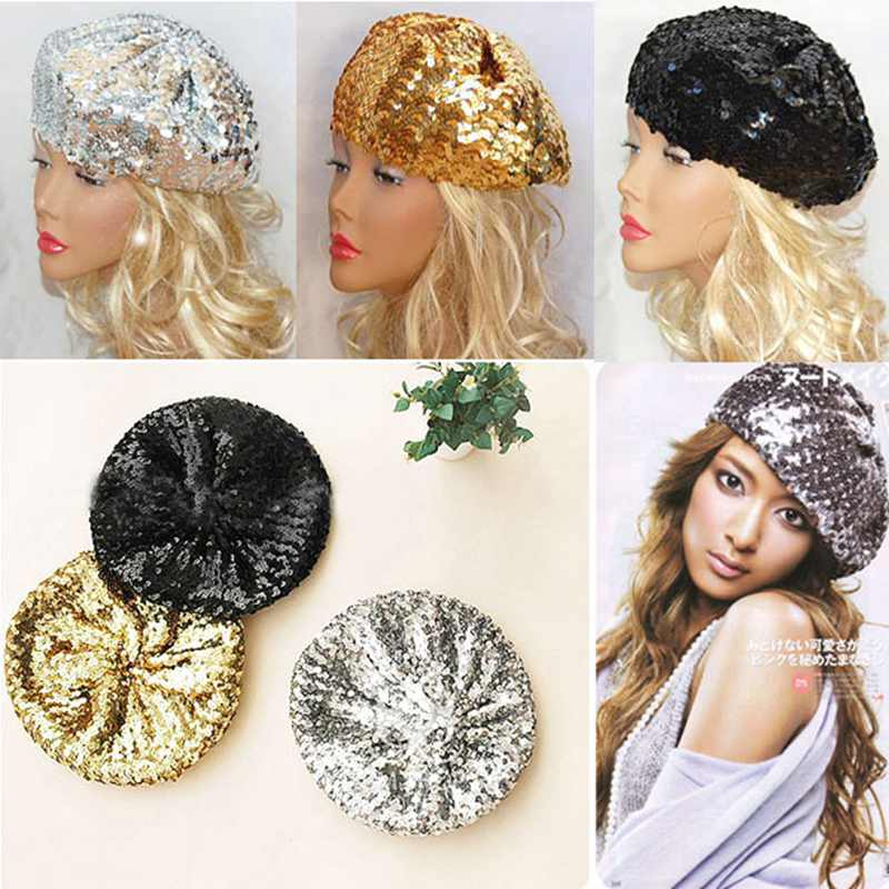 b7f4a78a9f5 Detail Feedback Questions about Retail Trendy Sequin Women Beanie Girl  Beret Twinkle Fashion Party Cap Festival Stage Show Hat Bling Bob Hip Hop  Bonnet Hat ...