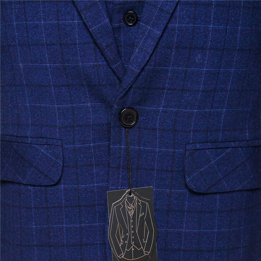 新しいメンズスーツダークブルーチェック柄ラペルシングルブレスト男性新郎のウェディングドレスと夜会服(ジャケット+パンツ+ベスト)カスタムメイド