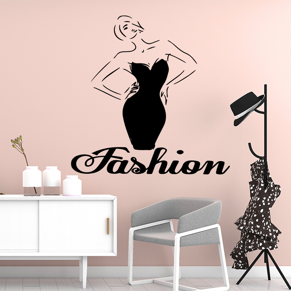 Pretty Fashion Dress Removable Pvc Wall Stickers Nursery Kids Room Wall Decor Decoration Accessories Murals in Wall Stickers from Home Garden
