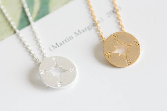 Fashion gold silver tiny compass pendant necklaces chocker compass fashion gold silver tiny compass pendant necklaces chocker compass necklace pendants for women 2015 wholesale necklace aloadofball Image collections