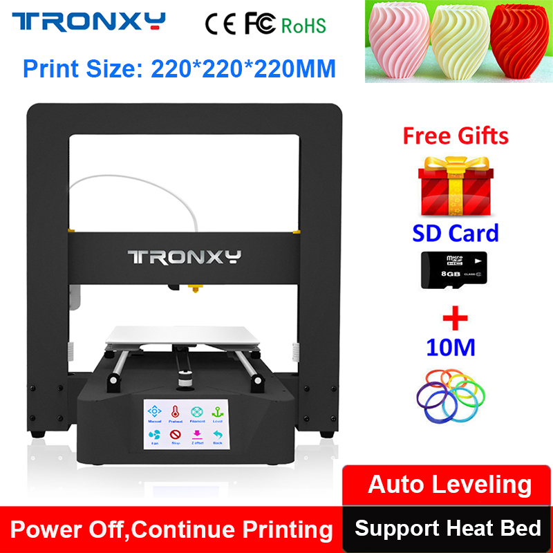New Fast assembly Tronxy 3d Printer Auto Level Touch Screen Support Large Size 220*220*220mm Heat Bed Power loss resume to Print 6tq040 to 220
