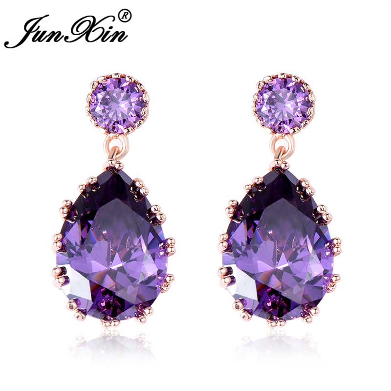 JUNXIN Luxury Purple Zircon Water Drop Earrings Vintage Rose Gold Filled Wedding Earrings For Women Fashion Crystal Jewelry