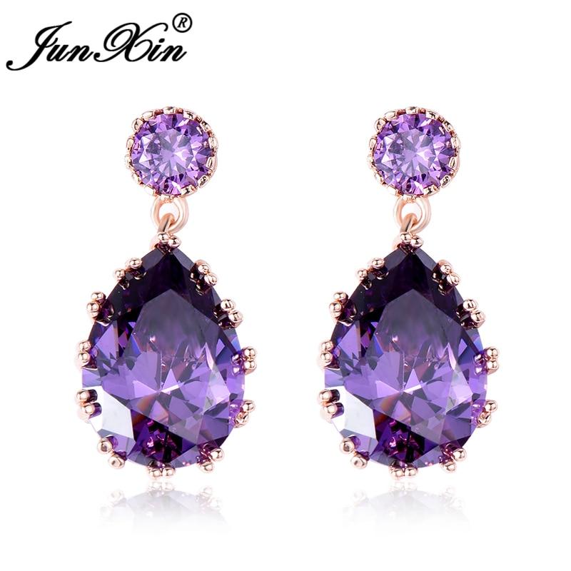 JUNXIN Luxury Purple Zircon Water Drop Earrings Vintage Rose Gold Filled Wedding Earrings For Women Fashion Crystal Jewelry
