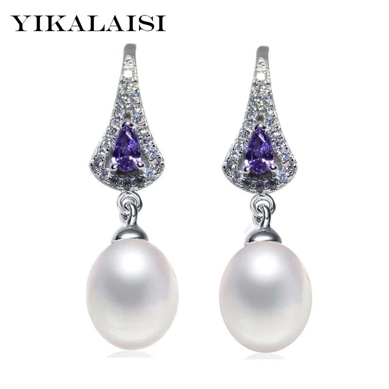 YIKALAISI 2017 NOVINKA Módní Perlové náušnice Šperky pro ženy Vodní dlouhá sladkovodní Pearl 925 mincovní stříbro Svatební šperky