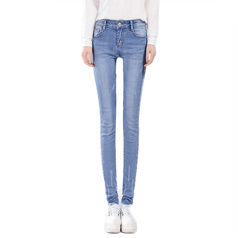 HMCHIME women cotton denim pants high quality fashion all match bleached scratched vintage package hip elastic pencil Jeans D116