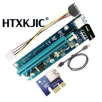 New PCI-E Riser 008 Express 1X 4x 8x 16x Extender PCI E USB Riser 008S Adapter Card SATA 15pin for BTC Mining Miner 50pcs